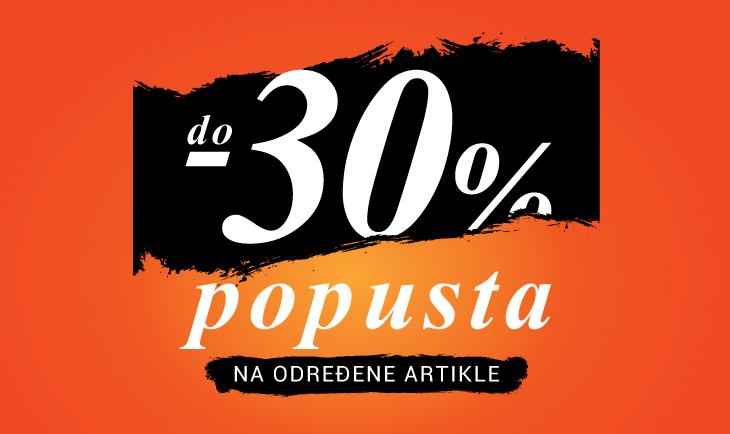 Do -30% na određene artikle