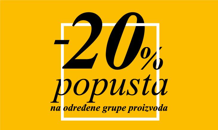 20% popusta na određene grupe proizvoda