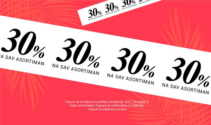 30% na sav asortiman