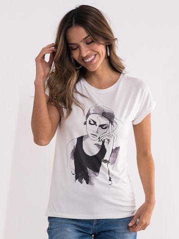 Bijela majica sa ženskim likom