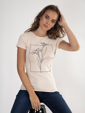 Bež majica sa skicom cveta