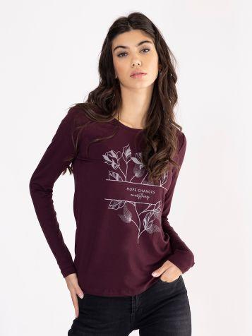 Tamno ljubičasta floralna majica