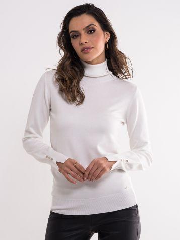 Bijeli džemper sa rolkom