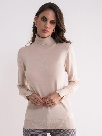 Džemper sa rolkom u drap boji