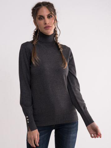 Džemper sa rolkom u tamno sivoj boji