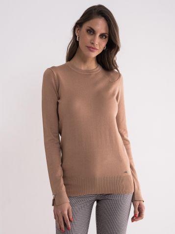 Ženski svijetlo braon džemper