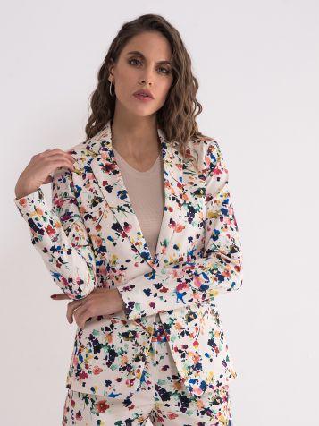 Ženski sako sa cvetnim dezenom