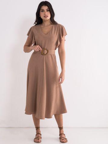 Lepršava svetlo braon haljina