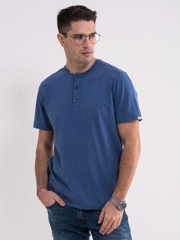 Melirano plava majica sa dugmićima
