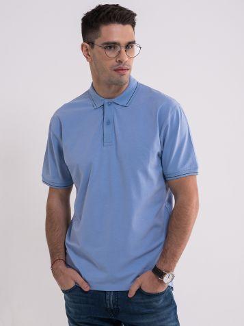 Muška plava majica sa kragnom