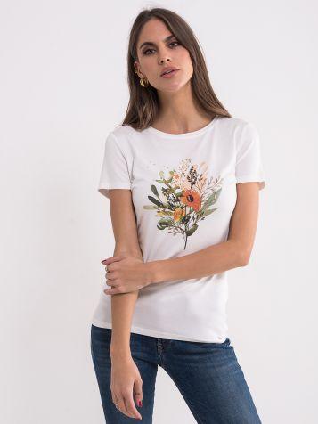Bijela majica sa floralnim uzorkom