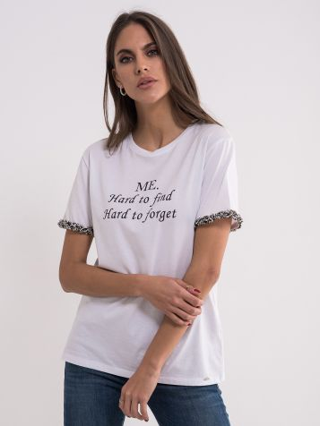 Bijela pamučna majica sa detaljima