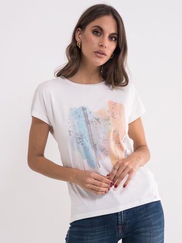 Majica sa printom u nežnim bojama