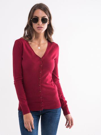 Džemper sa dugmićima bordo